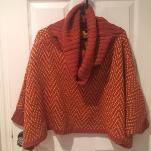 Poncho orange/burnt warm and cozy